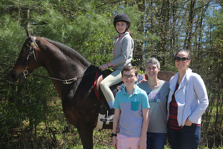 Ella and her family with their new Morgan gelding Douglas