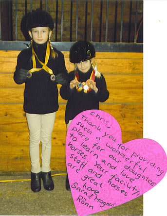 picture and note from two young rider clients
