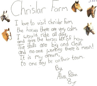 a note from a young rider